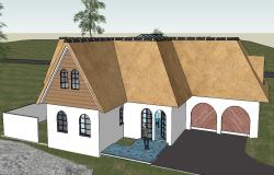 Modern residential 3d bungalow model cad drawing details skp file
