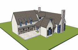 Modern residential bungalow 3d drawing details rvt file