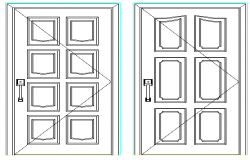Modern single door design details of house dwg file