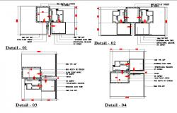 Modern single door installation details of office dwg file