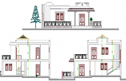 Modern single family villa detailed elevation design dwg file