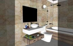 Modern toilet and bathroom 3d model cad drawing details skp file