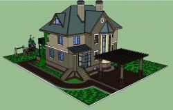 Modern two-story bungalow 3d model cad drawing details skp file