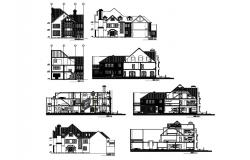 Modern two-story house all sided elevation and sectional details dwg file