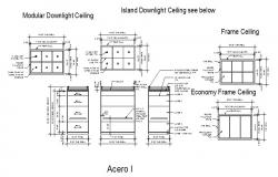 Modular down light ceiling electrical installation details dwg file