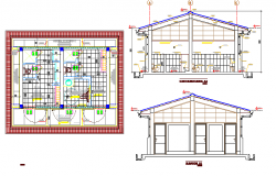 Module of toilet of restaurant architecture project dwg file