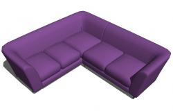 Mora v shape single sofa block 3d drawing details skp file