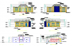 Mosque building detail elevation and section layout autocad file