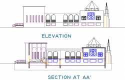Mosque elevation and section detail dwg file