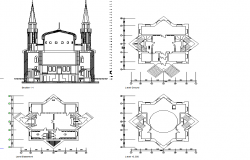 Mosque elevation detail dwg file
