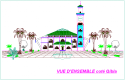 Mosque of Thracian view in side portion dwg file