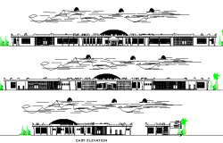 Motor Park Complex Architecture Design and Elevation dwg file