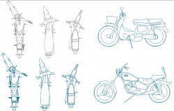 Motor cycle detail dwg file