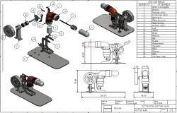 Motor elevation and 3d view dwg file