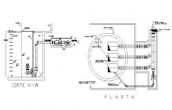 Motor pump machine section and installation details dwg file