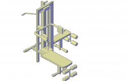 Multi- gym equipment plan detail dwg file.