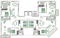Multi Family 20 Units 2 story Residential Housing Flats Structure Details dwg file