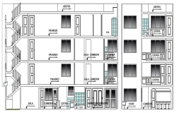 Multi-Family Building Four Floors Design and Elevation dwg file