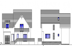 Multi Family Bungalow Elevation and Section Plan dwg file