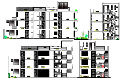 Multi Family Housing Flats Design and Detailed Elevation dwg file