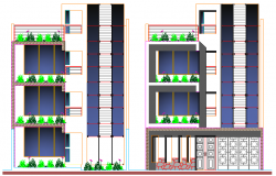 Multi Family Housing Flats Design and Elevation dwg file