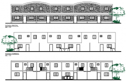 Multi Family Housing Project Elevation dwg file
