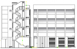 Multi-Family Housing with Store Design and Elevation dwg file