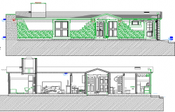 Multi Family Residence House Elevation and Section Plan dwg file