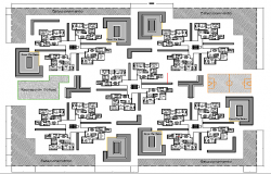 Multi Family Residency Flats Architecture Layout dwg file