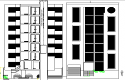 Multi-Family Residential Building Design and Main Elevation dwg file