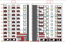 Multi-Family Residential Building Elevation dwg file