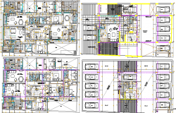 Multi-Family Residential Building Floor Plan Details dwg file