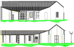 Multi Family Residential Bungalow Design and Elevation dwg file