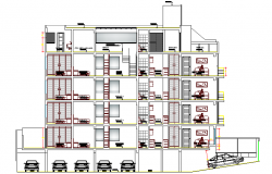 Multi-Family Residential Flats Architecture Design,  Elevation dwg file