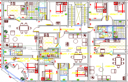 Multi-Family Residential House Architecture Layout and Structure Details dwg file