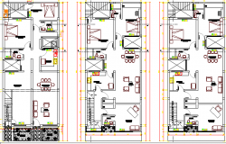 Multi-Family Three Story Building Floor Plan dwg file