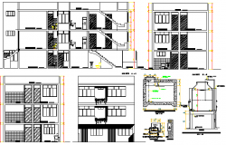 Multi-Family Three Story Building with Roof Terrace Architecture Project dwg file