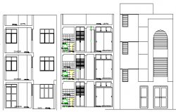 Multi-Family and Multi-Flooring Residential Flats Elevation dwg file