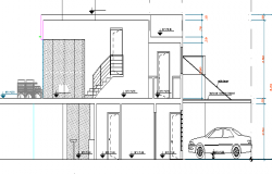 Multi Flooring Beach House Elevation dwg file