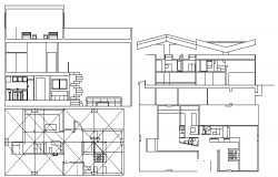 Multi-Flooring Bungalow Design and Elevation dwg file