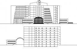 Multi-Flooring Hospital Front and Back Elevation dwg file