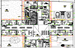 Multi-Flooring Hospital Layout Structure Details dwg file