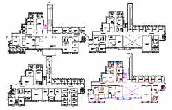 Multi-Flooring Hospital of Delhi Floor Plan dwg file