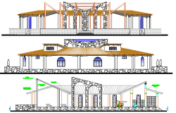 Multi-Flooring Hotel Elevation and Section Details dwg file