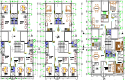 Multi-Flooring Housing Building with Office and Store Floor Plan dwg file