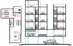 Multi Flooring Residency Flats Architecture Design dwg file