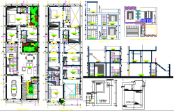 Multi-Flooring Single Family Housing Project dwg file