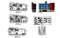 Multi-familiar housing building elevation, section, plan and auto-cad details dwg file
