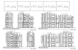 Multi-familiar residential building all sided elevation details dwg file