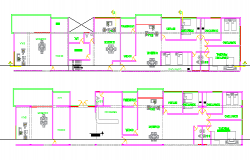 Multi-family ad multi-flooring housing building section view dwg file
